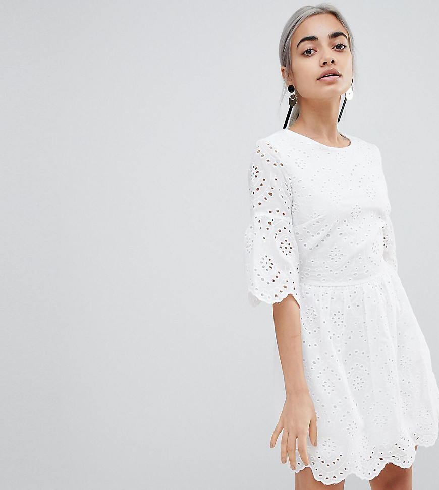 Parisian Petite Broderie Dress With Sleeve Detail - White