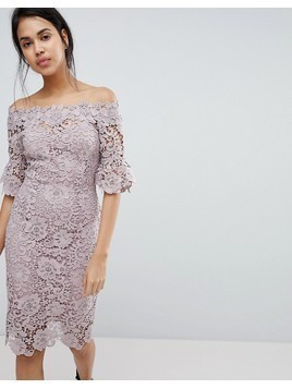 Paper Dolls off shoulder crochet midi dress with frill sleeve - Pink
