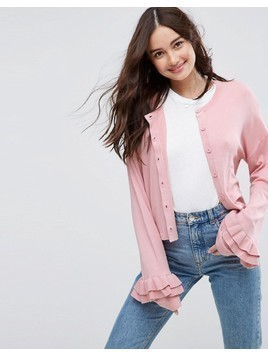 ASOS Cardigan With Ruffle Sleeves - Pink