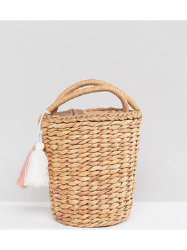 Glamorous Circular Straw Bag With Tassel - Beige