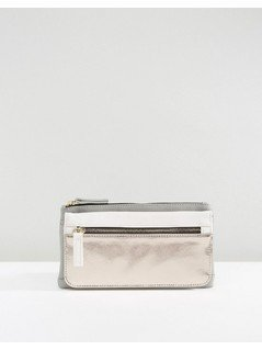 New Look Metallic Mix Foldover Purse - Grey