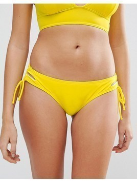 Lost Ink Hipster Lace Up Bikini Bottom - Yellow