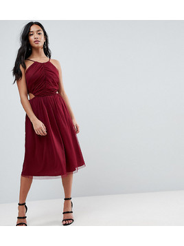 ASOS PETITE Dobby High Neck Midi Dress With Cut Out Sides - Red