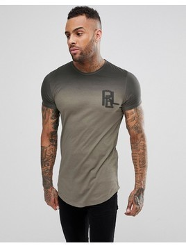 Religion T-Shirt With Curved Hem And Fade Print - Green