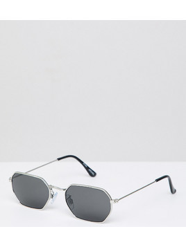 Monki hexagon sunglasses in black - Black
