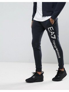EA7 Slim Fit Cotton Logo Sweat Joggers In Navy - Navy