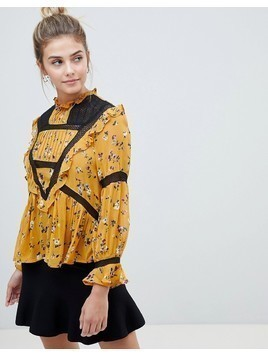 ASOS Crochet Ditsy Floral Victoriana High Neck Blouse - Multi
