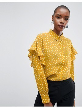 Selected Chanie Ruffle Arm Polka Dot Blouse - Yellow