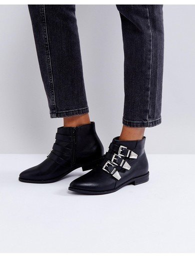 London Rebel Silver Trim Low Flat Ankle Boot - Black