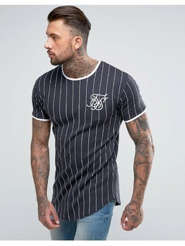 SikSilk Muscle T-Shirt In Navy With Stripes - Navy
