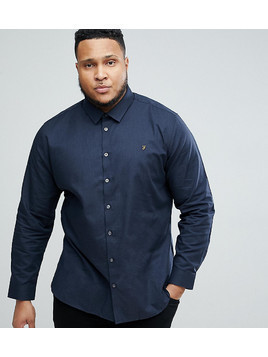 Farah PLUS Slim Shirt In Hopsack - Navy