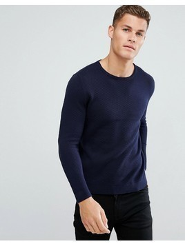 Burton Menswear Textured Knitted Jumper In Navy - Navy