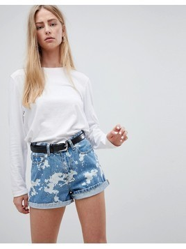 Dr Denim Jenn High Waisted Short in Bleach Effect - White
