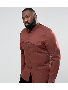 ASOS PLUS Slim Fit Two Pocket Shirt In Rust - Brown