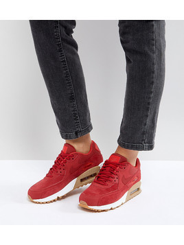 Nike Air Max 90 Red Suede Trainers With Gum Sole - Red