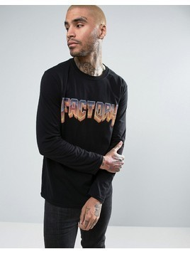FACTORY Doom Logo Oversized Long Sleeve T-Shirt - Black