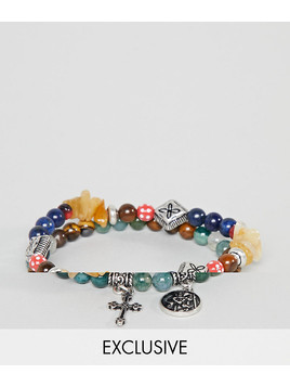 Reclaimed Vintage Inspired Beaded Bracelet With Charms In 2 Pack Exclusive To ASOS - Multi
