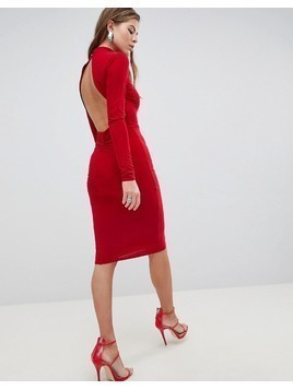 Club L High Neck Ruched Detailed Open Back Slinky Midi Dress - Red