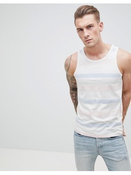 Produkt Vest With Faded Stripe - White