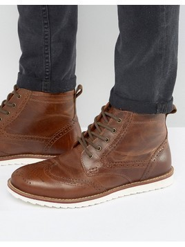 Red Tape Brogue Boots Tan Leather - Tan