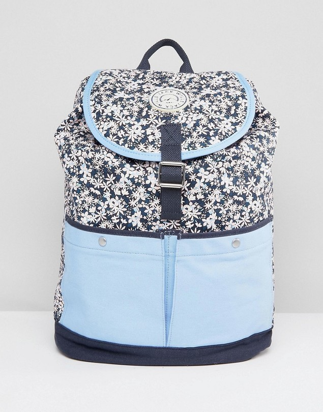 Jack Wills Floral Colour Block Backpack - Navy