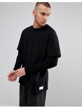 Fairplay Oversized Layered Long Sleeve T-Shirt in Black - Black