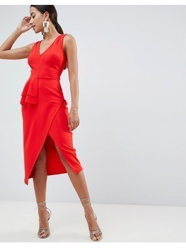 ASOS DESIGN pencil dress with peplum waist and contrast straps - Red