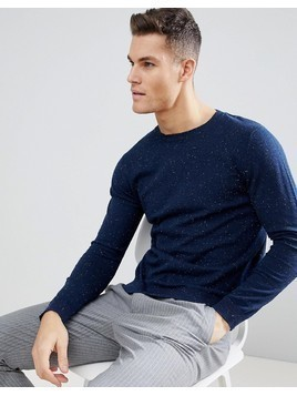 Selected Homme Knitted Jumper With Fleck Detail - Navy