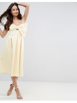 ASOS Scuba Gingham Bow Front Midi Prom Dress - Yellow