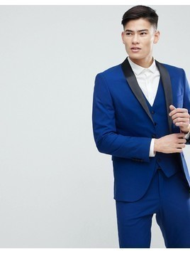 Selected Homme Slim Tuxedo Suit Jacket With Satin Lapel - Blue