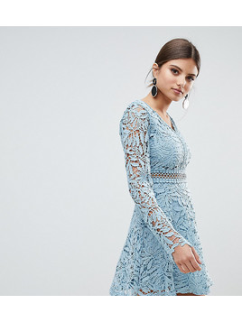 Boohoo Crochet Lace Long Sleeve Skater Dress - Blue