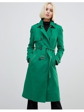 River Island Double Breasted Trench Coat - Green