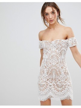 Boohoo Lace Overlay Bardot Dress - White