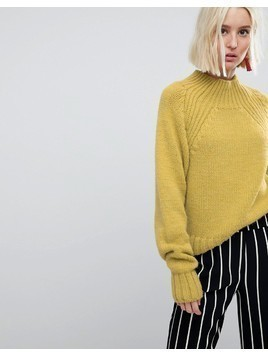 River Island Chunky Cable Knit Jumper - Yellow