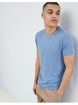 Selected Homme Stripe T-Shirt In Organic Cotton - Blue