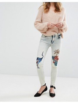 Pull&Bear Tropical Sequin Skinny Jeans - Blue