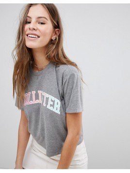 Hollister Cropped Baby Logo T-Shirt with Sports Tipping - Grey
