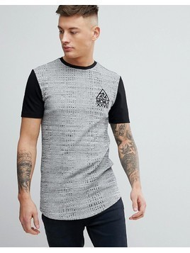 River Island Muscle Fit Ribbed T-Shirt With Print In Grey - Grey