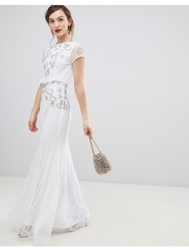 Frock & Frill Capped Sleeve Chiffon Overlay Maxi Dress With Embellished Detail - White
