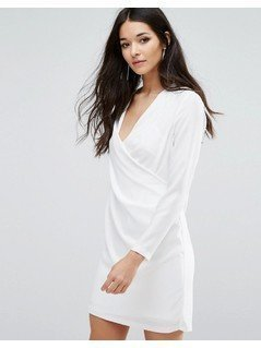 River Island Wrap Front Shirt Dress - White