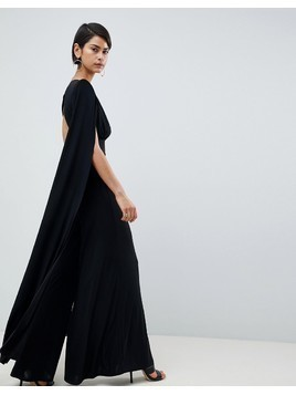 Club L Power Shoulder Cape Sleeves Detailed Slinky Wide Leg Jumpsuit - Black