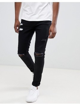 Ringspun Super Skinny Jeans With Ultra Rips - Black