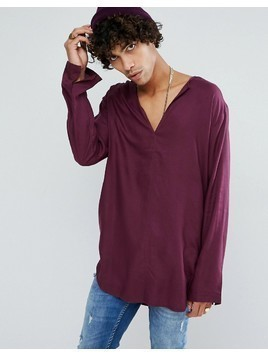 ASOS Regular Fit Longline Viscose Shirt With V Neck In Plum - Purple