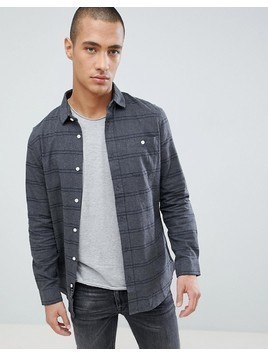 Threadbare Flannel Stripe Shirt In Navy - Navy