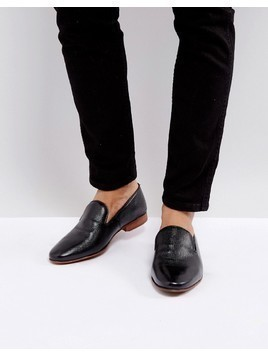 ASOS Loafers In Black Leather With Emboss Detail - Black