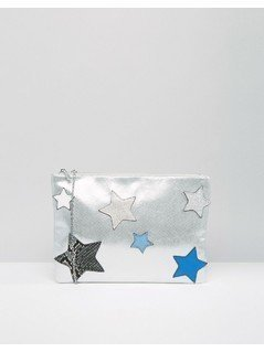 Nali Envelope Clutch Bag With Star Detail - Silver