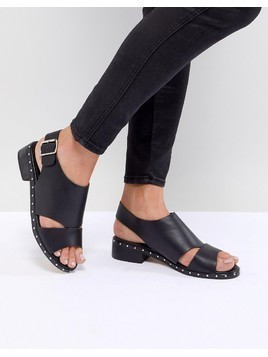 Truffle Collection Faux Leather Sandal - Black