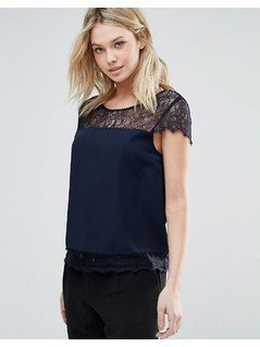 Only You Lin Lace Insert Blouse - Black