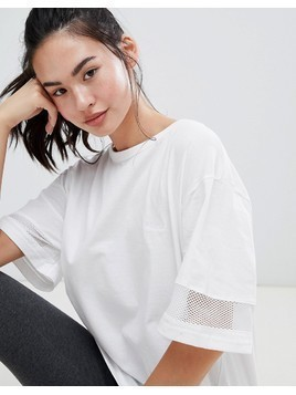 BLFD Oversized Longline T with Mesh inserts - White