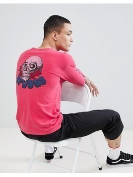 Stussy Pigment Dyed Long Sleeve T-Shirt With Skull&Roses Back Print In Pink - Pink